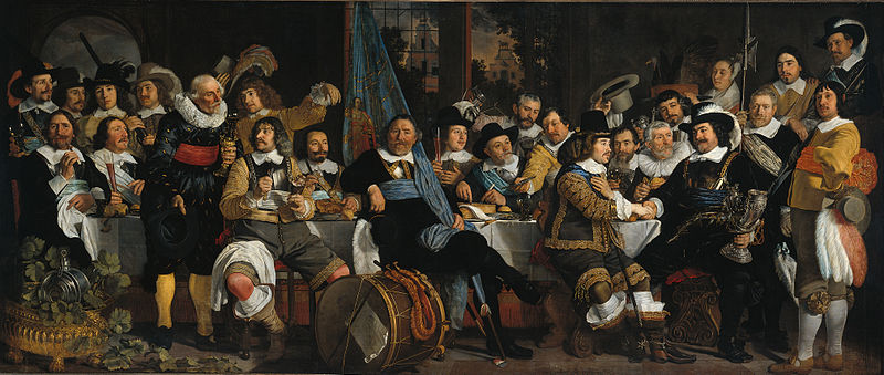 Artist: Bartholomeus van der Helst (1613-1670)  Title: The celebration of the peace of Münster, 18 June 1648, in the headquarters of the crossbowmen's civic guard (St George guard), Amsterdam.    Description: Celebration of the peace of Münster, 18 June 1648, in the headquarters of the crossbowmen's civic guard (St George guard), Amsterdam. The people portrayed are: (right, with silver horn) captain Cornelis Jansz. Witsen, (shakes hand of previous) lieutenant Johan Oetgens van Waveren, (seated behind the drum, with flag) reserve officer candidate Jacob Banning, sergeants Dirck Claesz. Thoveling and Thomas Hartog. Additionally: Pieter van Hoorn, Willem Pietersz. van der Voort, Adriaen Dirck Sparwer, Hendrick Calaber, Govert van der Mij, Johannes Calaber, Benedictus Schaesk, Jam Maes, Jacob van Diemen, Jan van Ommeren, Isaac Ooyens, Gerrit Pietersz. van Anstenraadt, Herman Teunisz. de Kluyter, Andries van ANstenraadt, Christoffel Poock, Hendrick Dommer Wz., Paulus Hennekijn, Lambregt van den Bos and Willem the drummer.